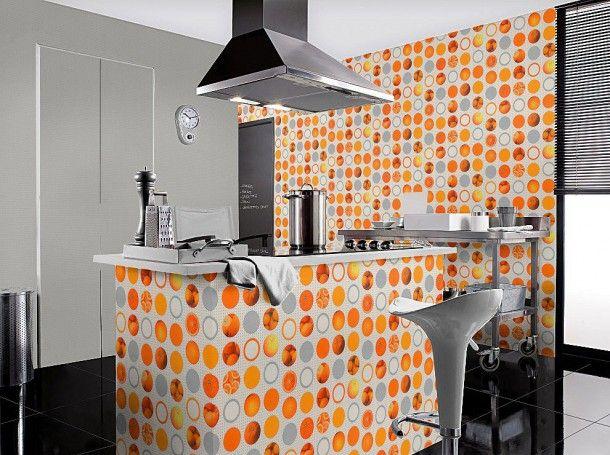 Rasch Tapeten Tiles & More 828504 Struktur Obst Kueche weiss silber ...
