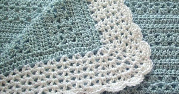 Crochet Baby Blanket Blue with White Border by GoStitch on Etsy   Bebe   Pinterest   Crochet baby, Baby blankets and Blankets
