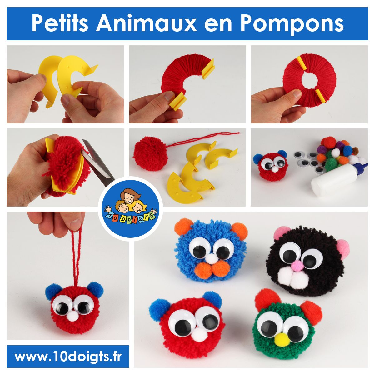 Fr animaux rigolos en pompons en cute animal pompoms - Activite pince a linge maternelle ...