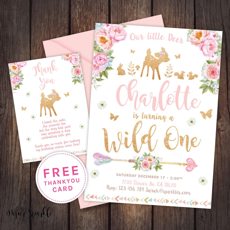 Deer Invitation First birthday invitation wild oneWoodlandDeer