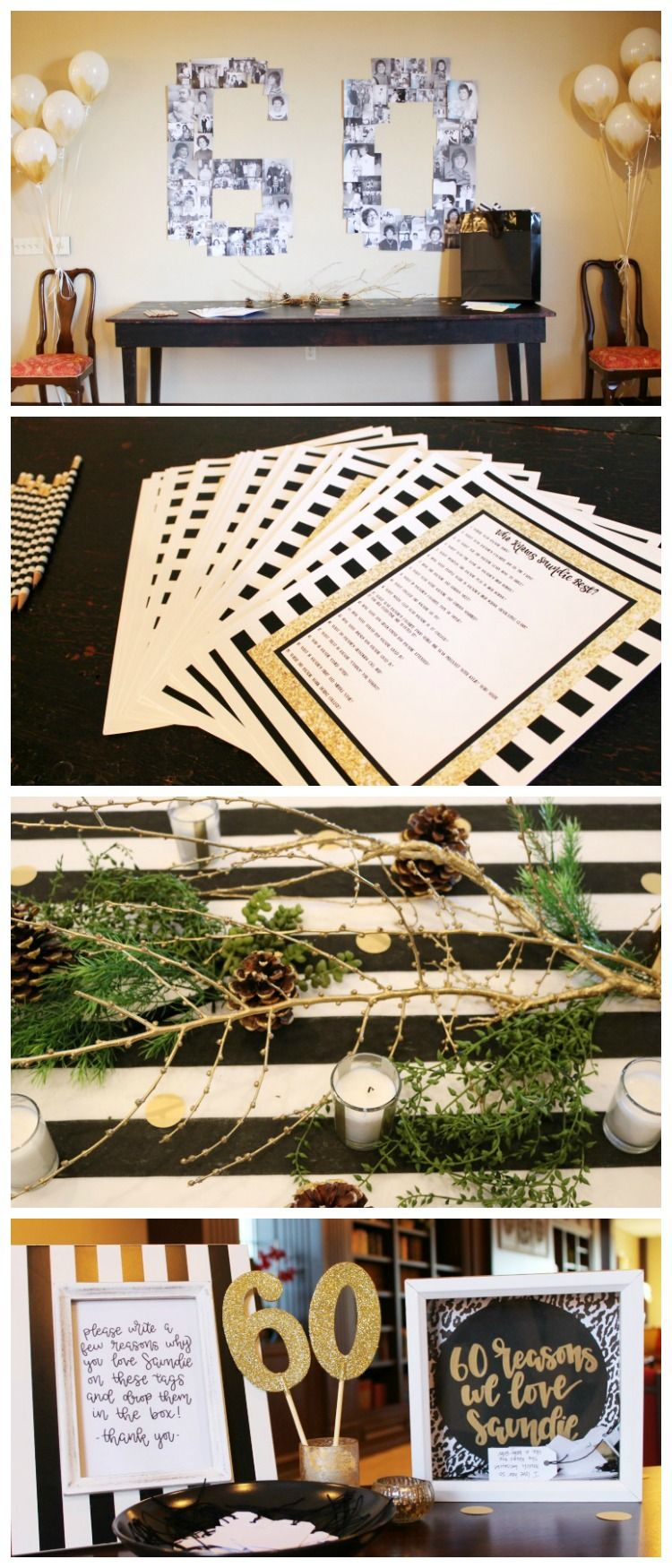 Black White And Gold 60th Birthday Party Decorating Game Ideas The Child At Heart Blog