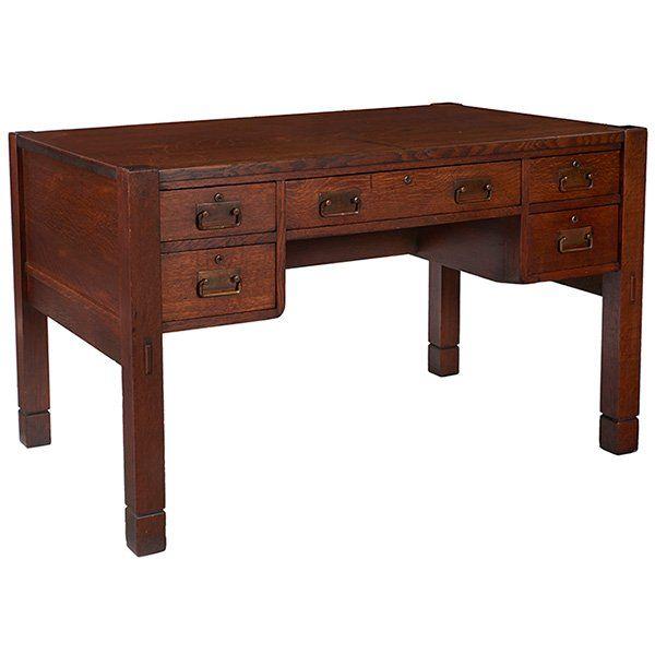 Stickley Brothers Desk 2534 48 W X 29 5 D X 30 H Lot 133 Mission Style Desk Craftsman Furniture Mission Furniture
