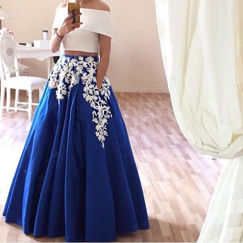 Click to Buy << Robe De Soiree Two Piece Prom Dresses Lace Appliques ...