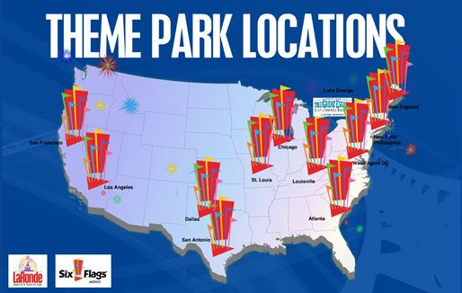 Go To All US Locations Of Six Flags Dream Board Pinterest - Map of all us theme parks