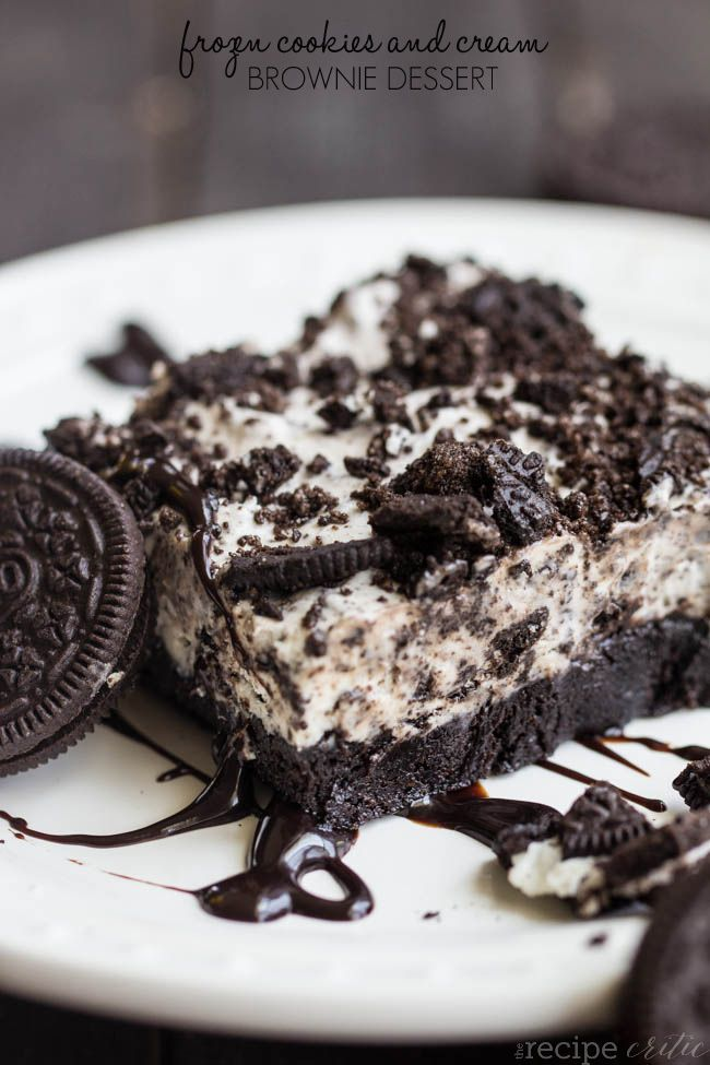Cookies and Cream Brownie Dessert Frozen Cookies and Cream Brownie Dessert...made this for birthday at work today and was met with rave reviews. Not my favorite frozen dessert but still yummy and really easy to makeFrozen Cookies and Cream Brownie Dessert...made this for birthday at work today and was met with rave reviews. Not my favorite frozen dessert but s...