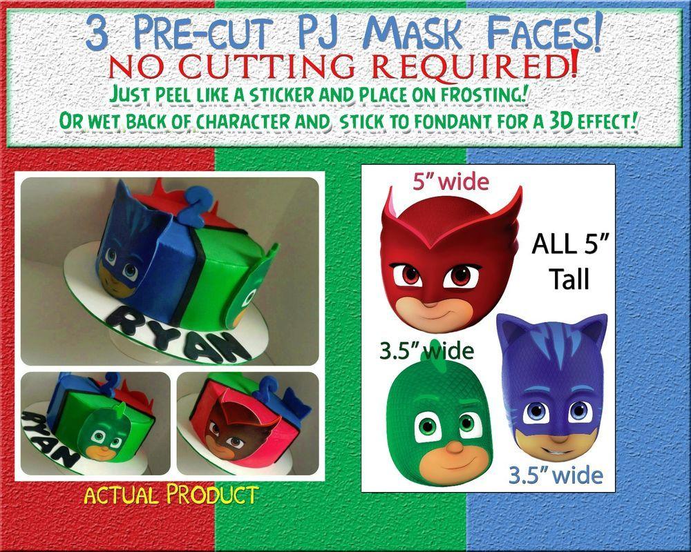 Happy Birthday Cake Topper Custom Cake Decoration PJ Mask Faces
