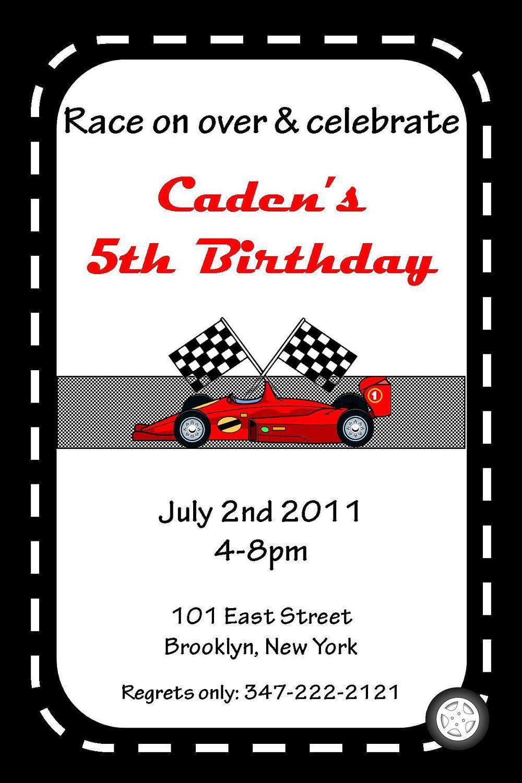 Race Car Birthday Party Invitation Printable Free – Race Car Birthday Party Invitations