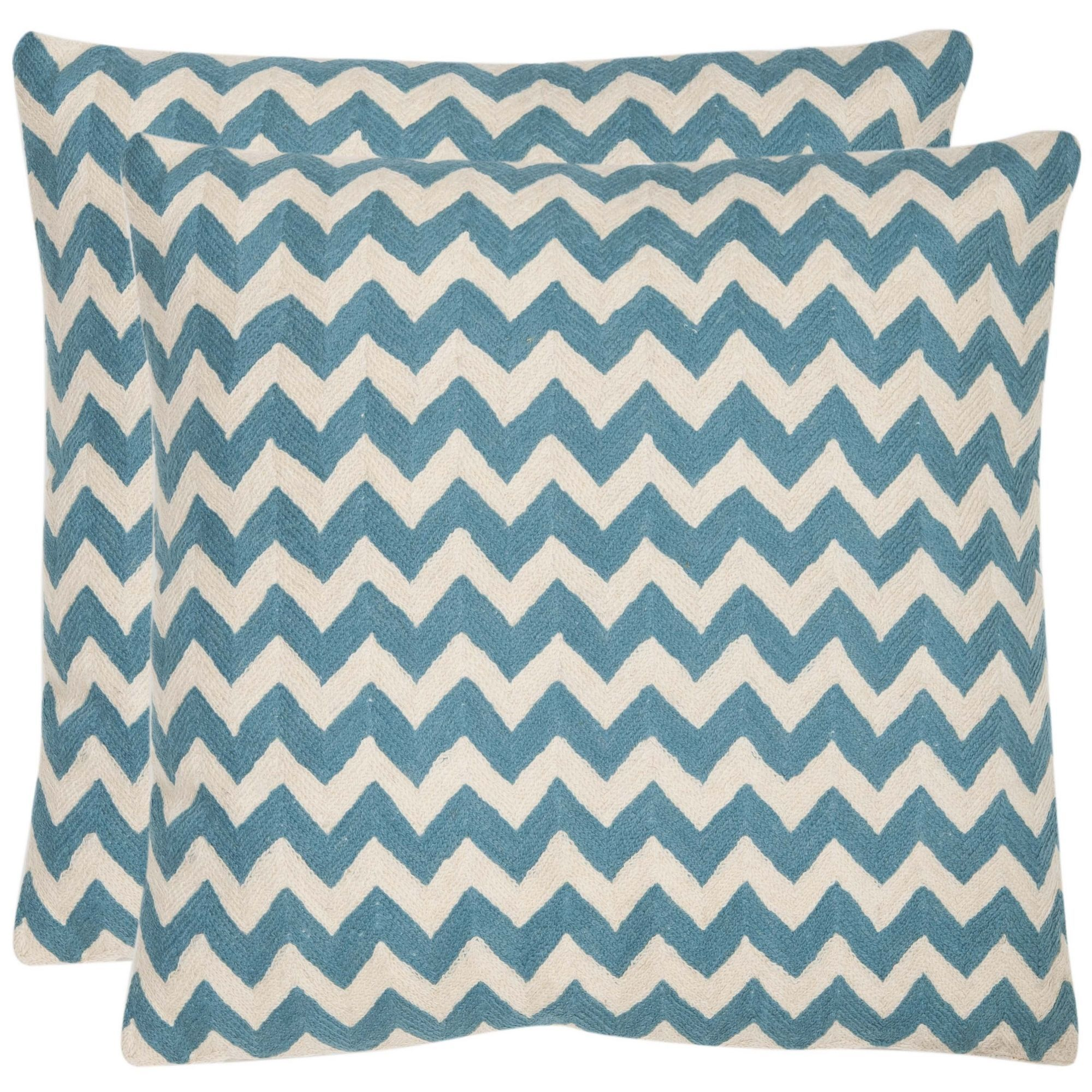 Safavieh zigzag inch embroidered blue decorative pillows set of