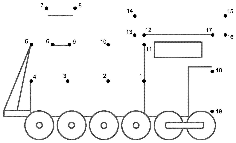 Train Dot To Dot Printables Trein Vervoer Werkbladen