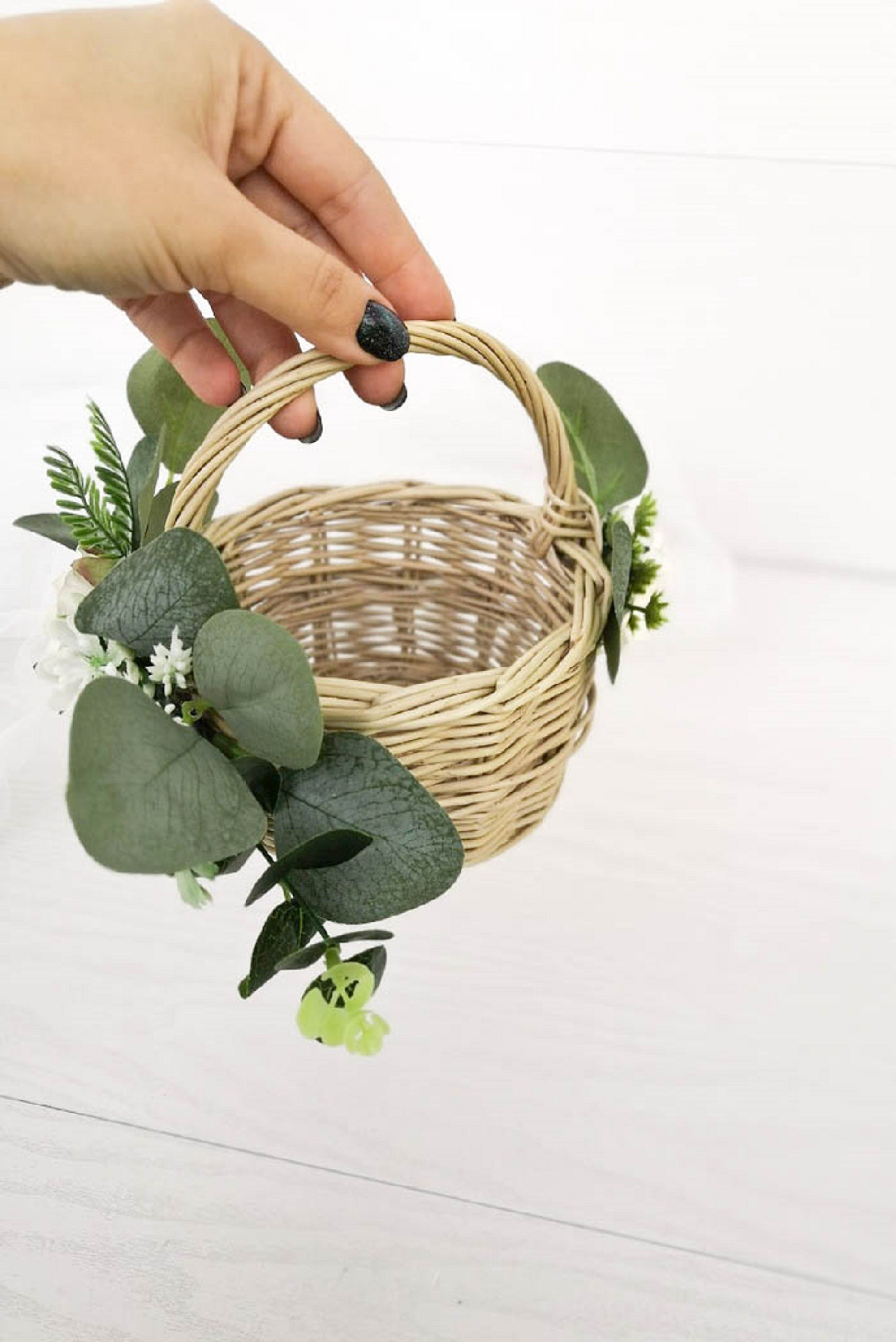 Flower girl basket wicker baskets with succulents rustic