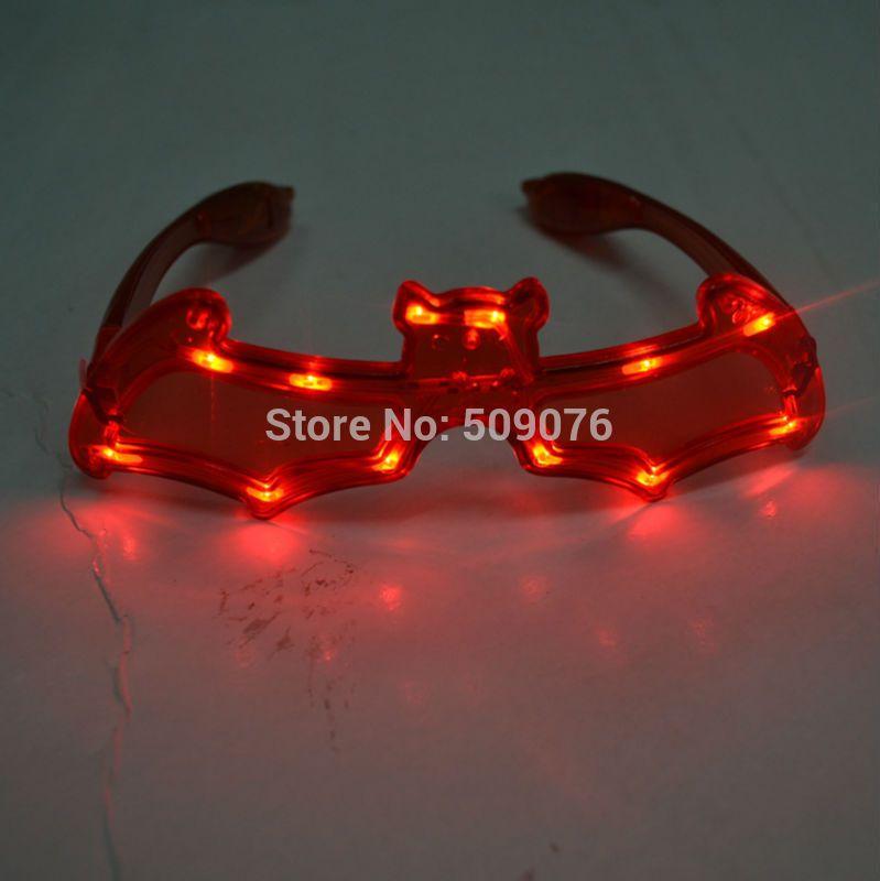 Free shipping 2pcs/lot led halloween eyeglasses led bat glasses for