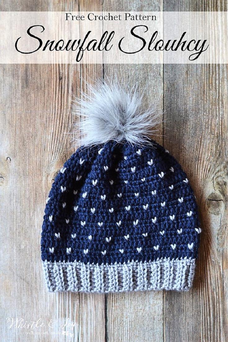 Crochet Snowfall Slouchy Hat   Gorros, Gorros de lana y Tejido