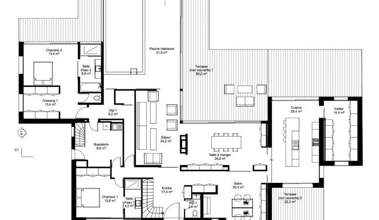 Maison Serendipity   Plan maison contemporaine, Plan de maison moderne 4 chambres, Plan de ...