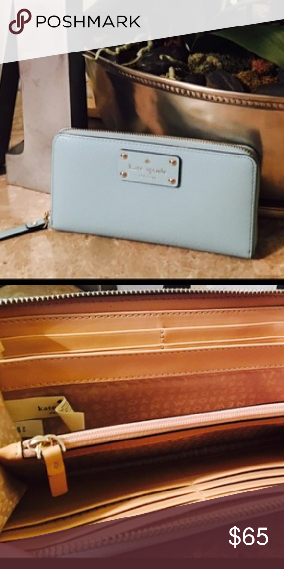 Kate Spade Continental Wallet Rare Robin Blue Color. New. Double sided for cards. Double for cash. Zipper for change/keys. Exterior compartment big enough for IPhone 6s. kate spade Bags Wallets