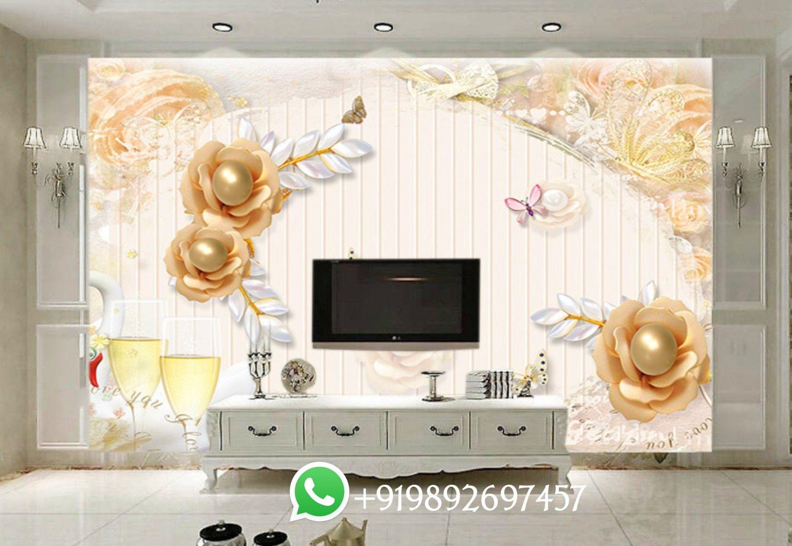 5d Amazing Wallpaper For Living Room Tv Unit Area Design 5d Wallpaper In Mumbai Near Me Living Room Tv Unit Wallpaper Living Room Living Room Tv 3d ceiling wallpaper india