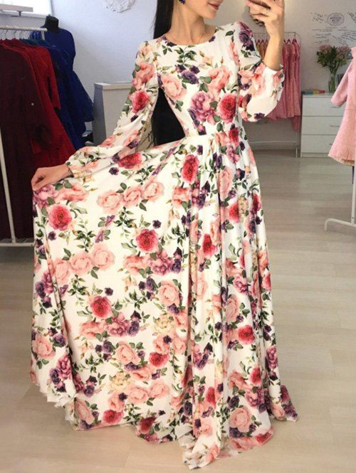b1072ff5d4e Long Sleeve Floral Ankle Length Dress - COLORMIX  female  woman  fashion   style  clothes  want  ad