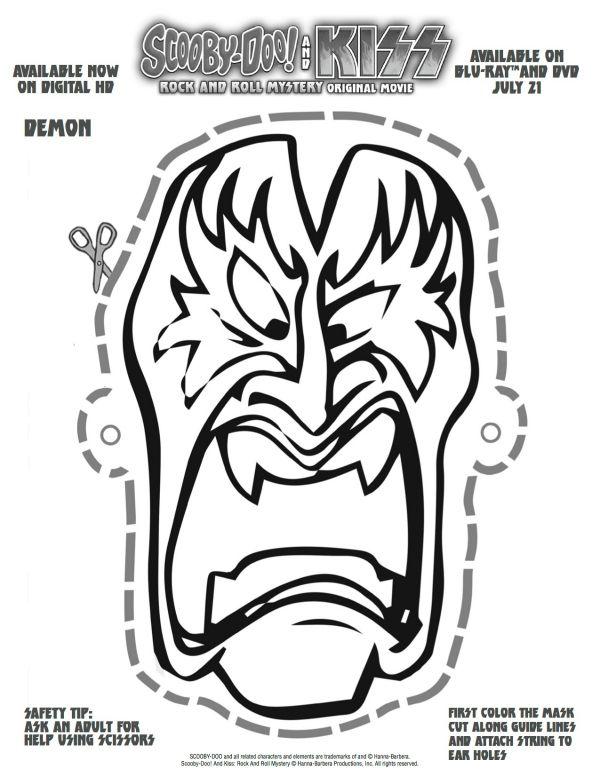 free printable scooby doo kiss demon mask