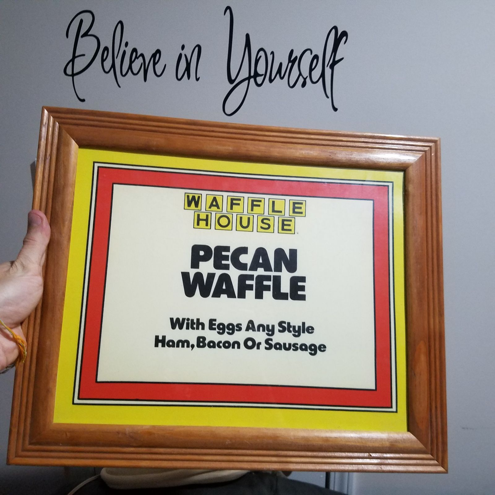 Cool item Waffle house man cave home decor Framed Man