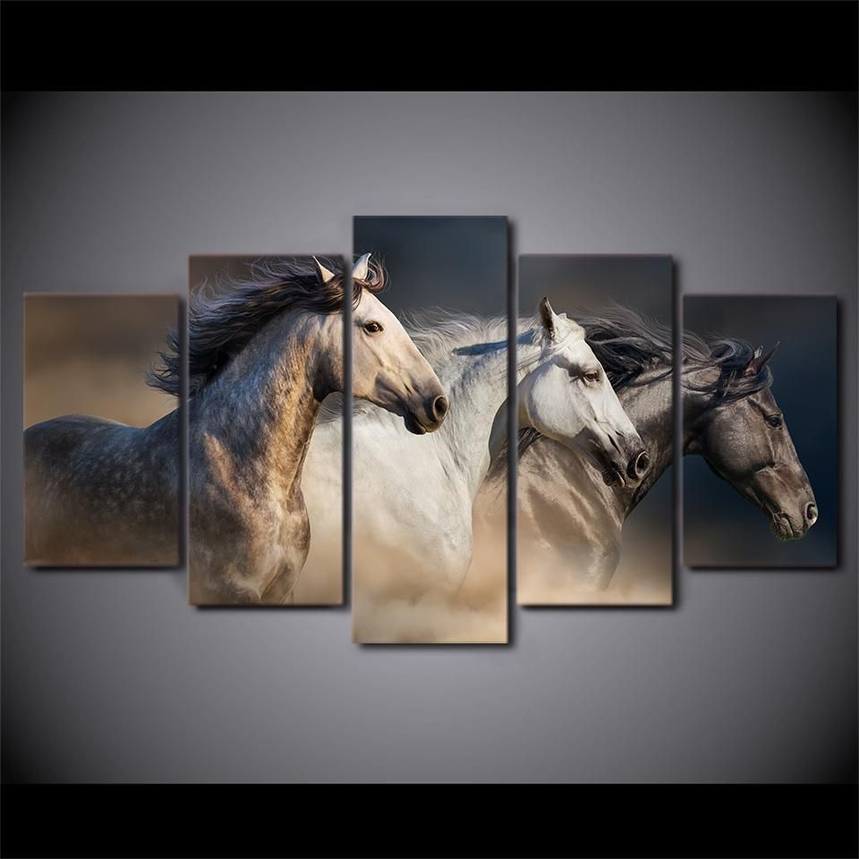5 Piece Canvas Art Running Horses Painting Animal Wall Picture Canvas Horse Canvas Painting Customized Canvas Art Nature Canvas Painting