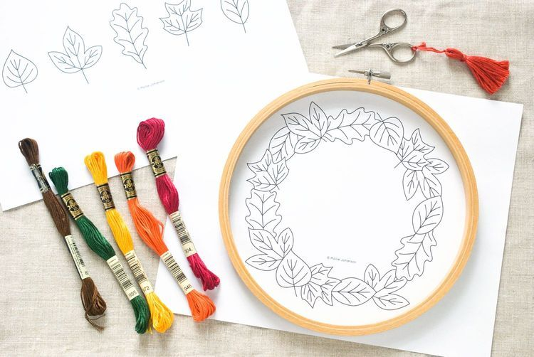 Hand Embroider a Frame or Wreath of Autumn Leaves   Crafts-Misc ...