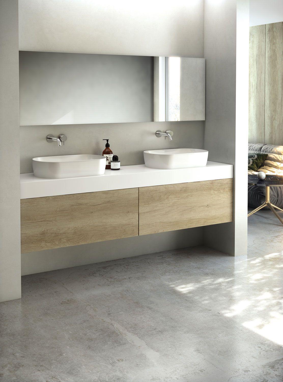Mueble de ba o suspendido de madera con encimera en dammar una de las mejores resinas del - Mueble bano estrecho ...