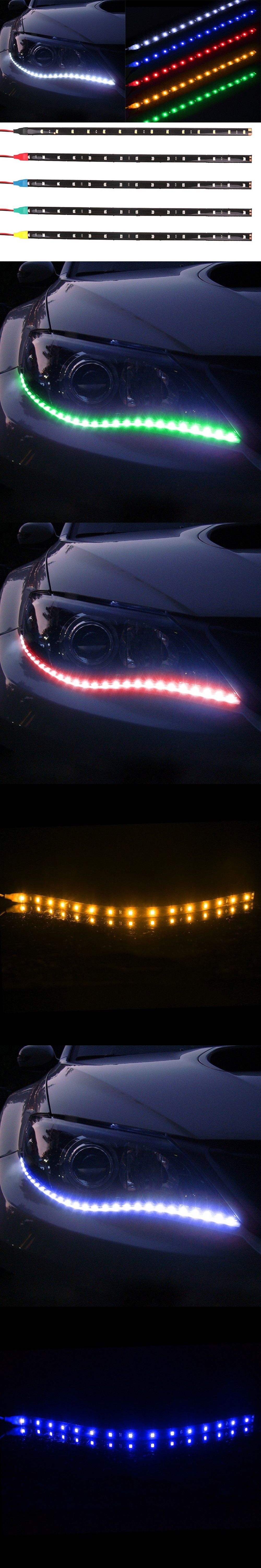 Led Light Strips For Car Interior Interior Mouldings 2Pcs Fashion 12V Auto Decoration Waterproof Led