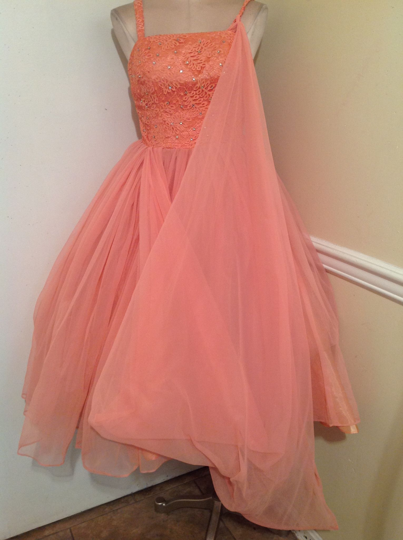 Vintage s peach dream sheer gown dress best fit small products