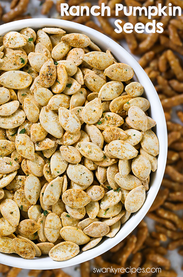 Ranch Pumpkin Seeds - Quick and easy roasted pumpkin seeds with a zesty ranch blend. You'll fall in love with this healthy Ranch Pumpkin Seed recipe. Perfect pumpkin seed snack this autumn. #pumpkinseedsrecipe Ranch Pumpkin Seeds - Quick and easy roasted pumpkin seeds with a zesty ranch blend. You'll fall in love with this healthy Ranch Pumpkin Seed recipe. Perfect pumpkin seed snack this autumn. #roastedpumpkinseeds