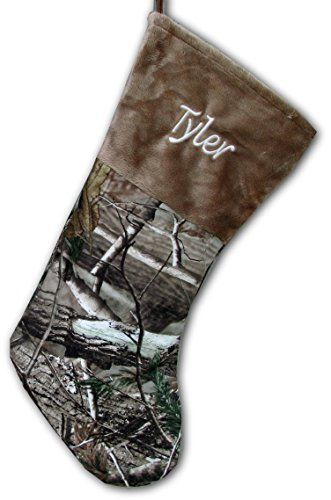 Personalized Brown Camo Christmas Stocking Officially Licensed Realtree Ap Shearling Camouflag Cheap Christmas Stockings Camo Christmas Stocking Camo Christmas
