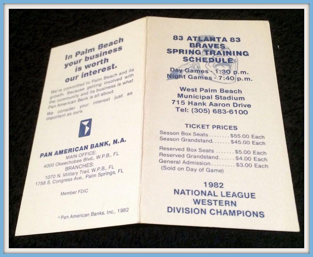1983 Atlanta Braves Pan American Bank Spring Training Baseball Pocket Schedule Pocket Schedule With Images Spring Training Baseball Atlanta Braves Braves