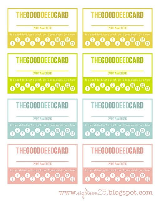 """Good deed punch card - been meaning to design one of these for the kids but now I don't have to!  Sure beats marking an """"x"""" in a box under their name on some lined paper :) brilliant idea!!"""