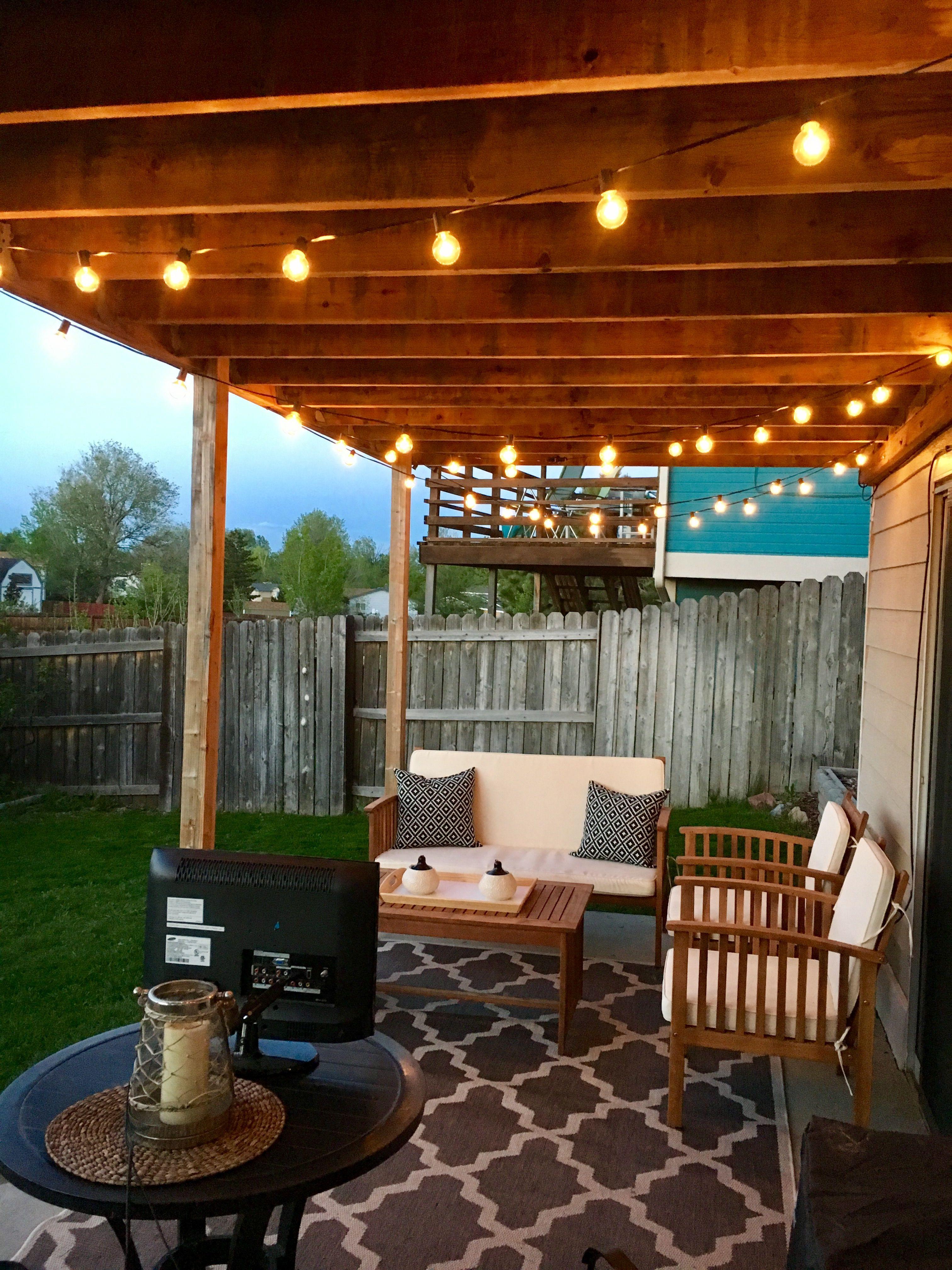 DIY patio. Patio lights. Patio decor. Patio makeover ... on Small Backyard Covered Patio Ideas id=27176
