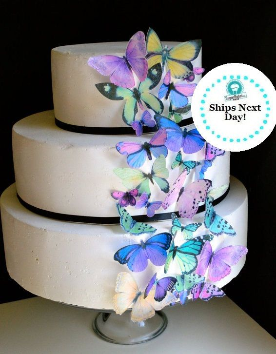 Edible Butterflies Purple And Green Butterfly Cake Decorations