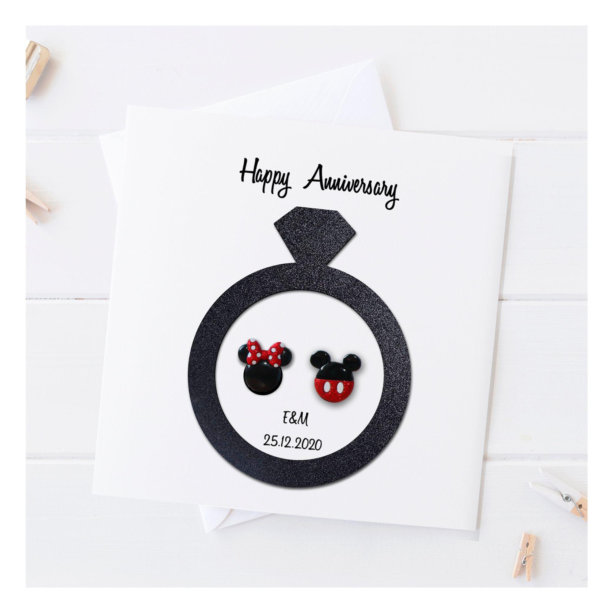 Mickey Minnie Anniversary Card Disney Anniversary Card Etsy Anniversary Cards For Boyfriend Anniversary Cards Handmade Anniversary Card For Parents