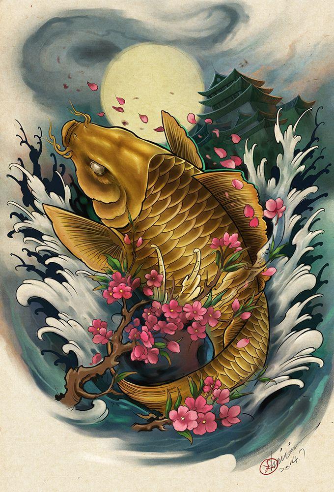 Hailin Fu Koi Dragon Tattoo Koi Tattoo Design Carp Tattoo