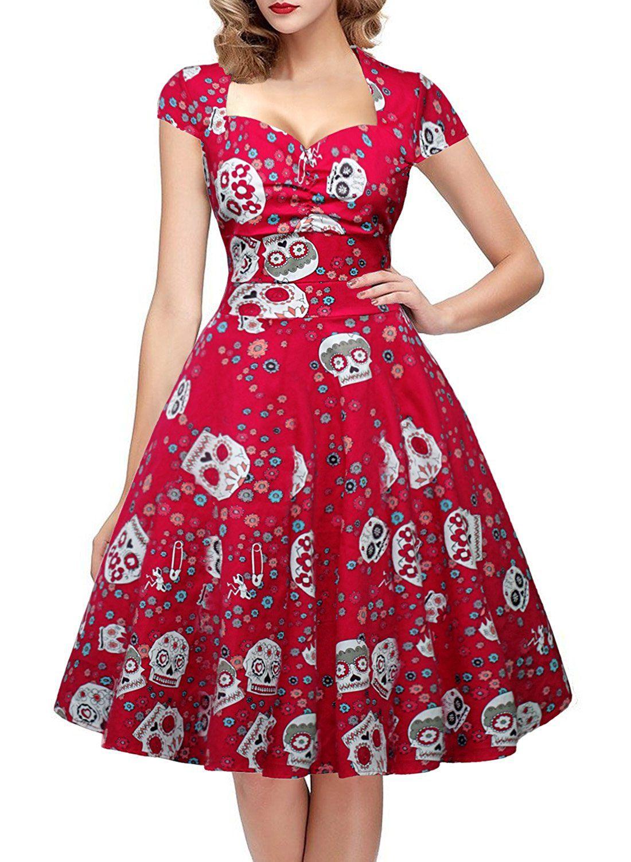 Amazon.com: OTEN Women\'s Floral Sugar Skull Cap Sleeve Sewing Casual ...