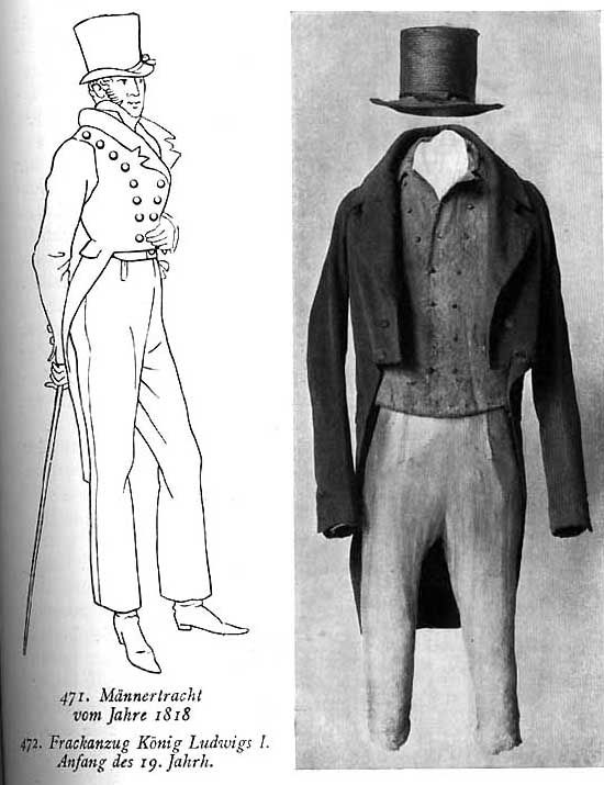 Trousers gradually gained popularity but did not begin to eclipse into breeches until the 1820s. The fir of trousers in the Empire period was narrower than the baggy styles of the 1790s. To reinforce the slender look, instep straps (stirrups) were attached to the cuffs to prevent the legs from riding up.   http://15march1848hungary.blogspot.com/2012/03/mens-fashion.html