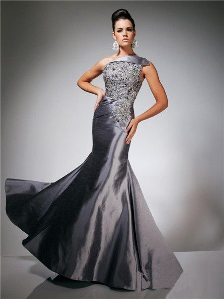 one shoulder beaded gray ball gown