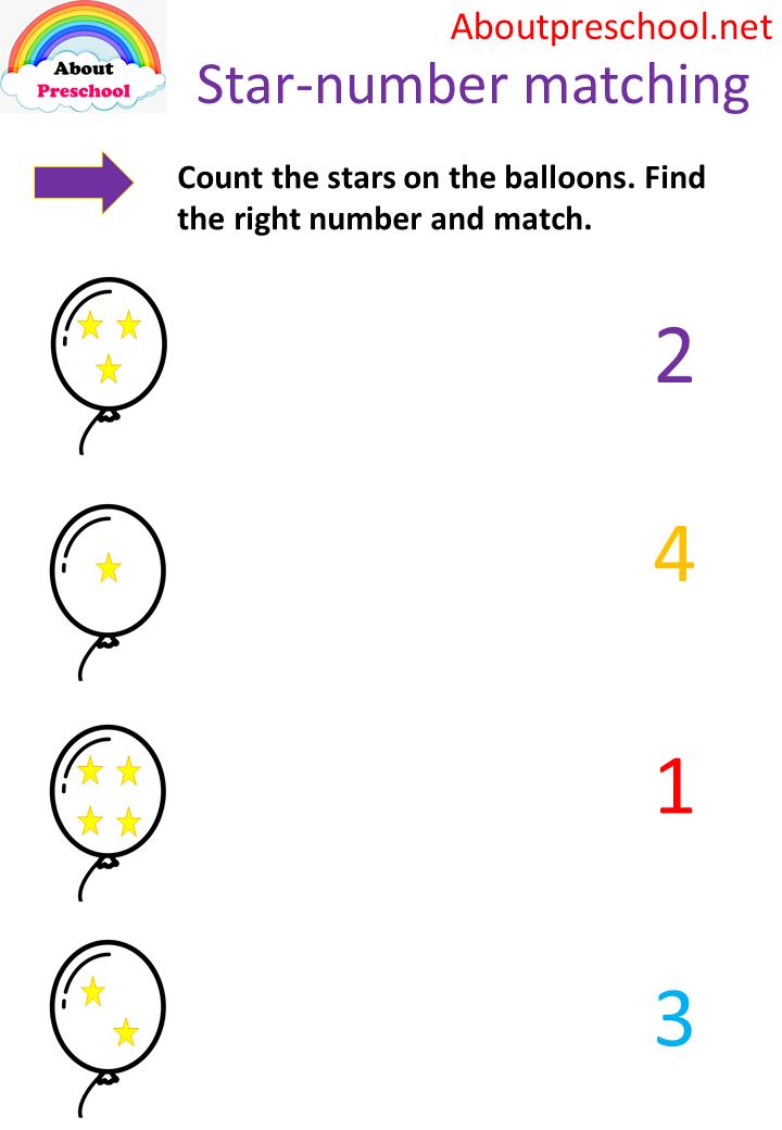 Star Number Matching 1 4 Preschool Kindergarten Math Worksheets Free Preschool Worksheets Preschool