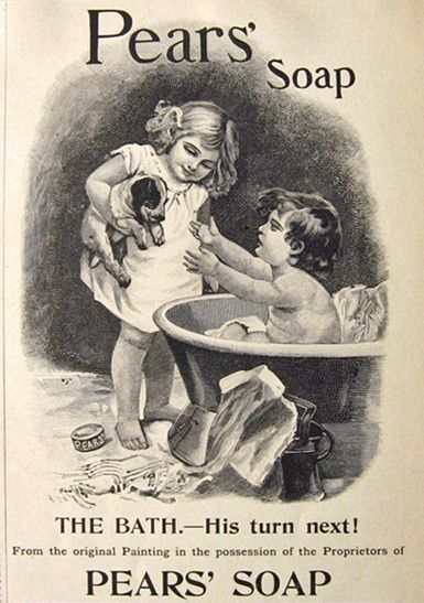 1895 Pears\u0027 Soap Ad ~ Bathing Boy Reaches for Puppy decorating