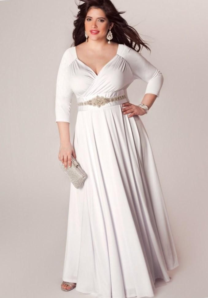 Plus Size White Long Sleeve Dress Patterns For Womens Clothing