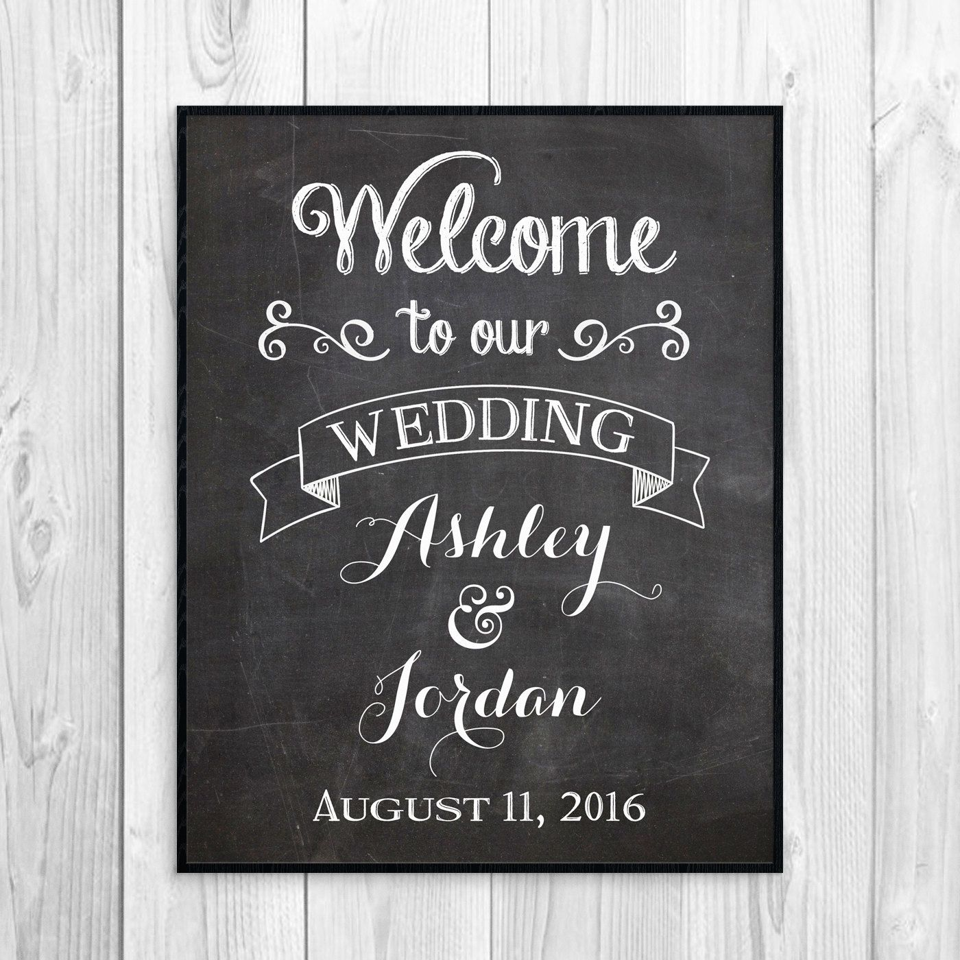 Chalkboard Welcome To Our Wedding Sign Reception
