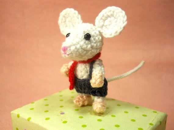 Tiny Crochet Mouse Boy – Amigurumi Miniature Stuffed Animals – Made To Order