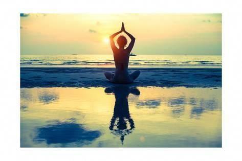 art print yoga woman sitting in lotus pose on the beach