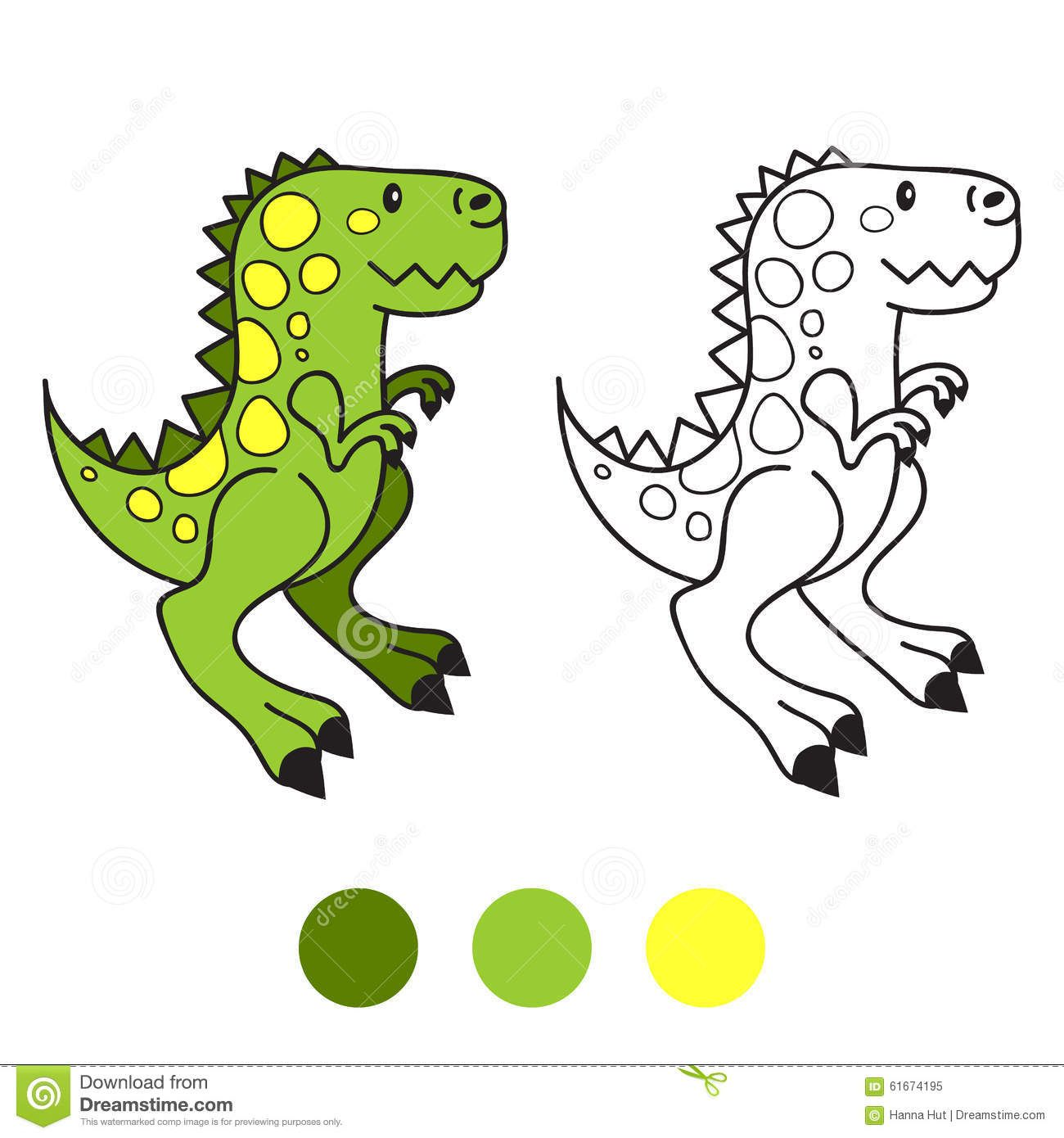 Dino, Dinosaur. Coloring Book Page. Cartoon Vector Illustration ...