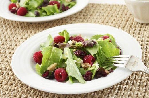 Baby Lettuce Salad with Raspberries