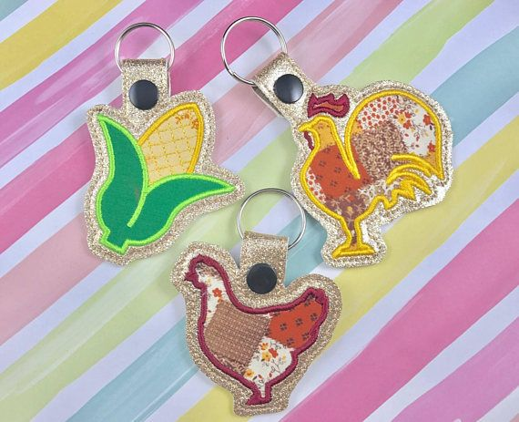 Rooster applique set snap tab embroidery digital file instant