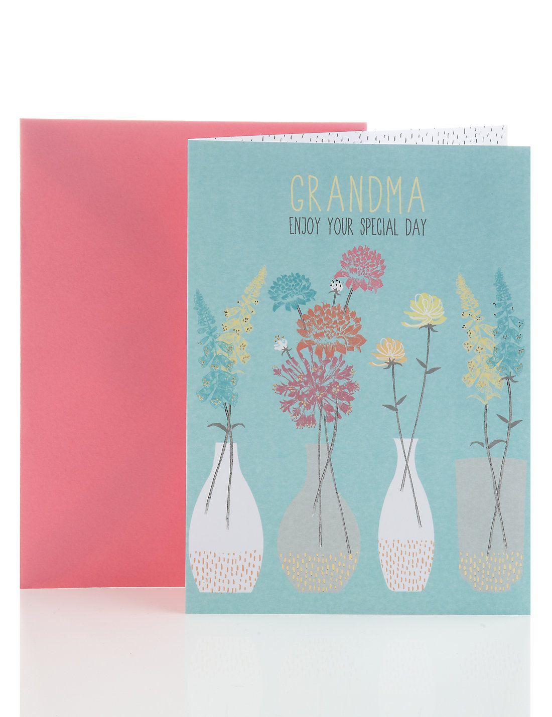 Floral Grandma Birthday Card M&S Grandma birthday card