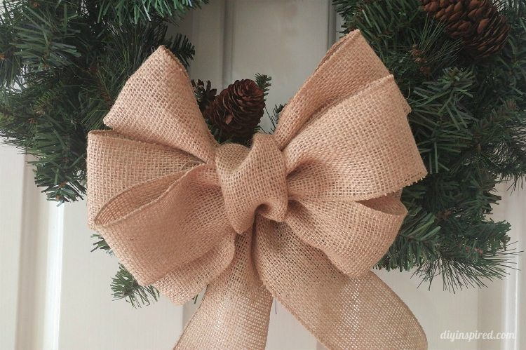 How to Make a Burlap Bow - DIY Inspired #howtomakeabowwithribbon