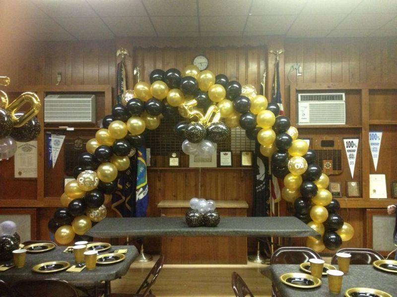 50th Anniversary Balloon Arch And Centerpiece Long Island Ny Nyc Bouncewowny